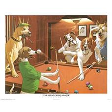 Billard Wandposter Arthur Sarnoff Scratching Beagle